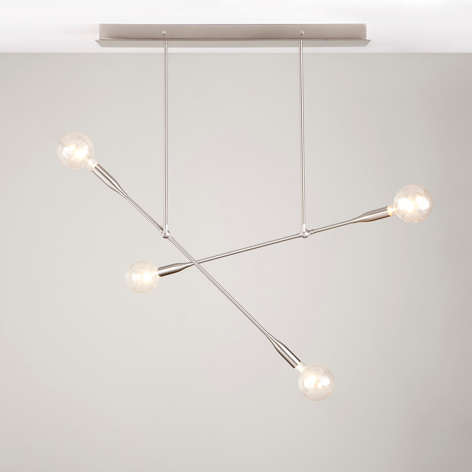 Sorenthia Double modern chandelier in Brushed Nickel by Studio DUNN on grey background