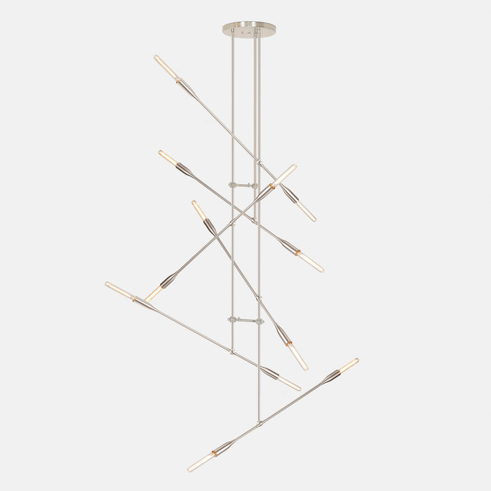 Sorenthia Grand statement modern chandelier in Brushed Nickel by Studio DUNN on grey background