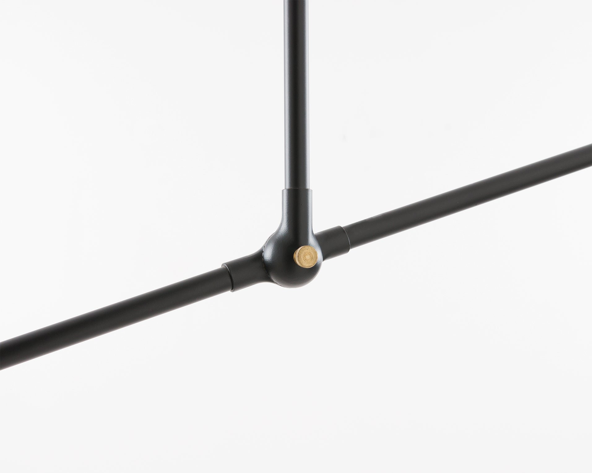 Detail view of the Sorenthia Pendant Light's joint piece in Black Poppy powder coat with brass details by Studio DUNN