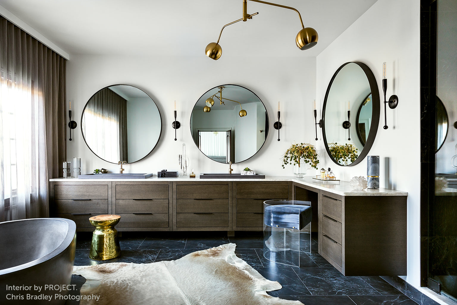 Master bathroom with Sorenthia Black Sconces interior by PROjECT. photo by Chris Bradley