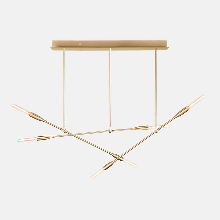 Sorenthia Triple linear statement chandelier in Brushed Brass by Studio DUNN on grey background