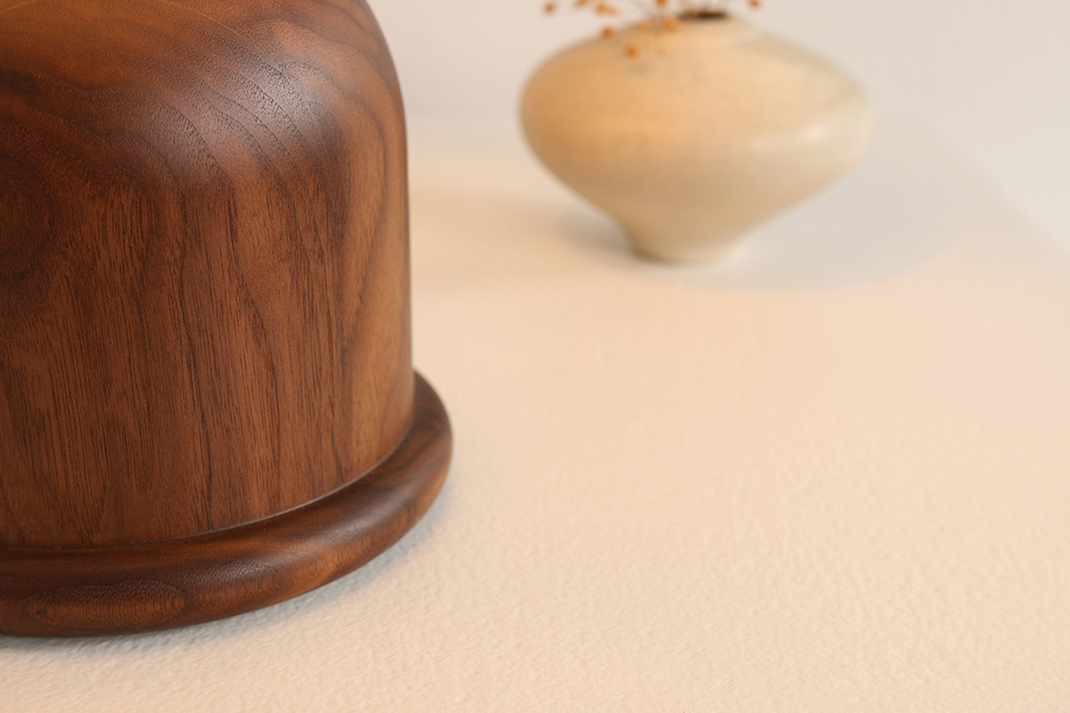 Close up of walnut table lamp body by Studio DUNN