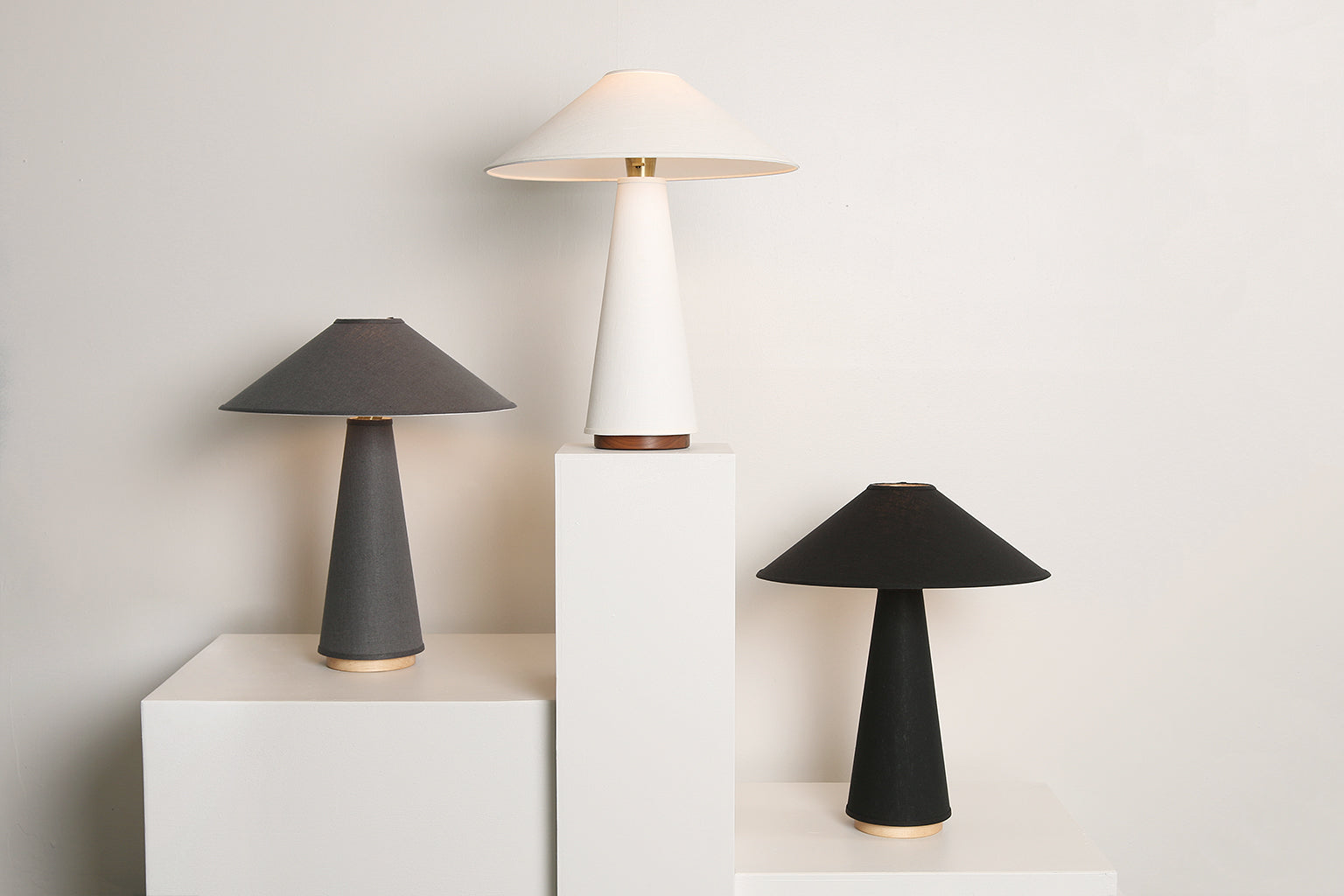 Linden Table Lamp in Black Linen, Maple Base, and Brass Details