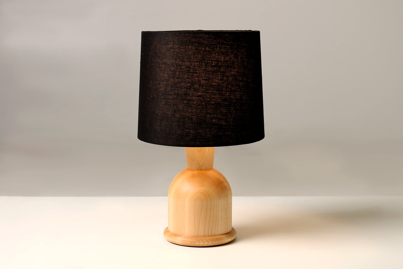 "Beacon 18"" High Table Lamp with Maple Hardwood Base and Black Linen Shade by Studio DUNN"