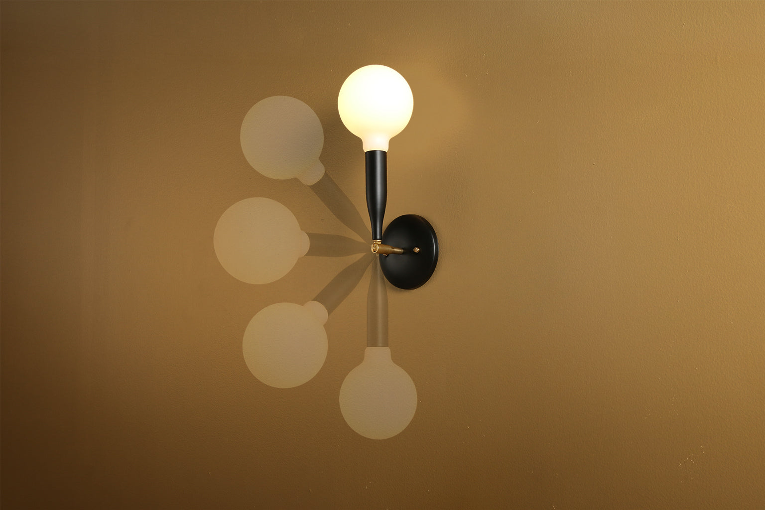 Flute Sconce in Black Poppy with Brass Details