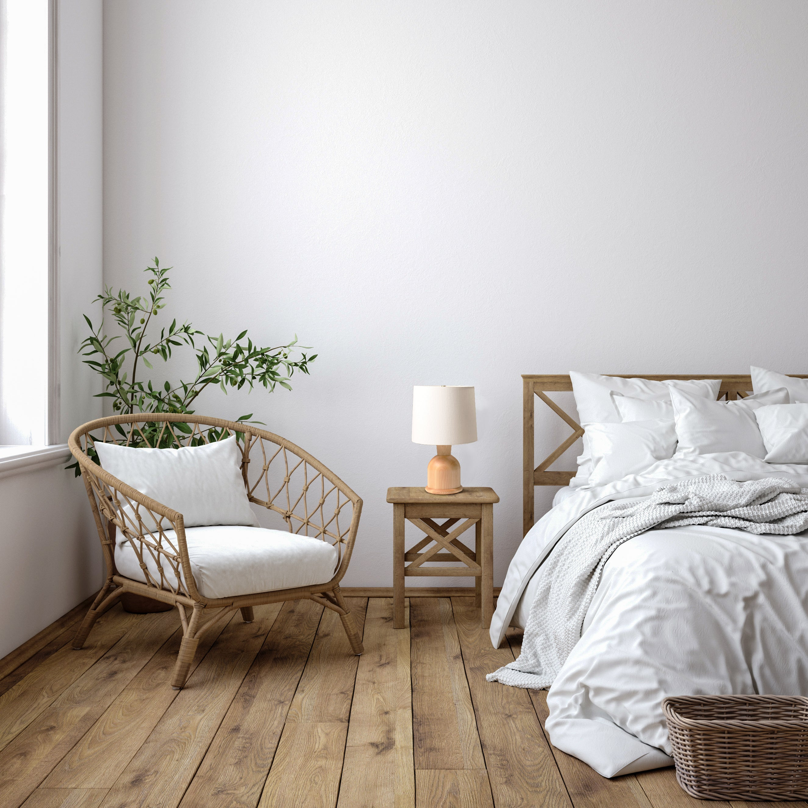 Contemporary bedroom with white linens, hardwoods, and Beacon Table Lamp in Maple and Cream Linen