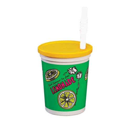 Lemonade Cup 16 Ounce with Lid and Straw Plastic