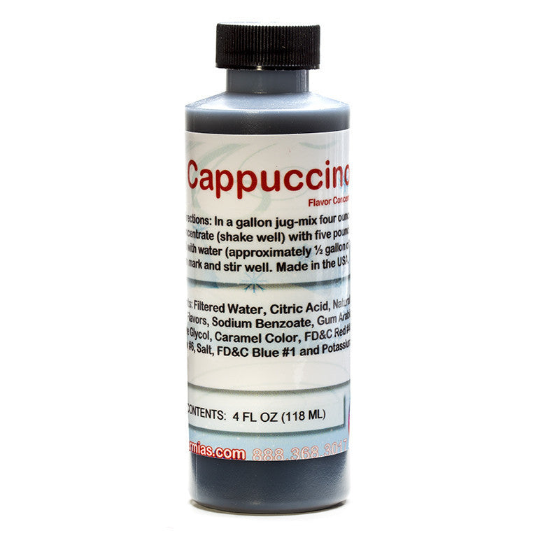 Cappuccino flavoring concentrate for use in shaved ice sample