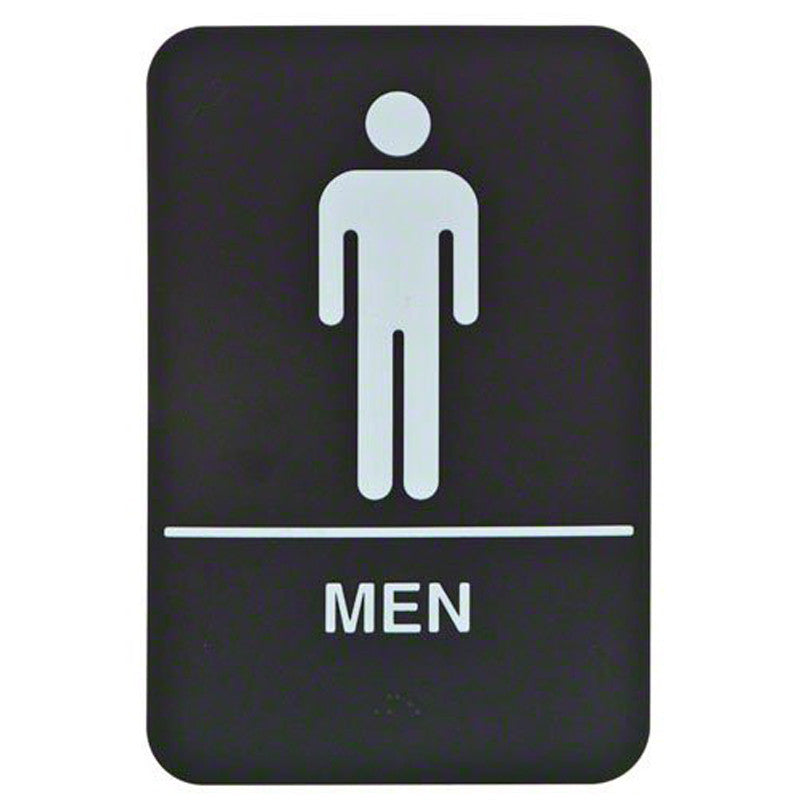 Men's restroom with braille