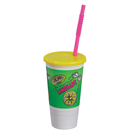 Lemonade Cup 32 Ounce with Lid and Straw Plastic