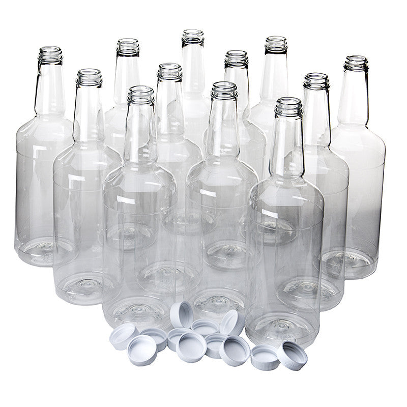 Longneck plastic shaved ice bottles quart with cap