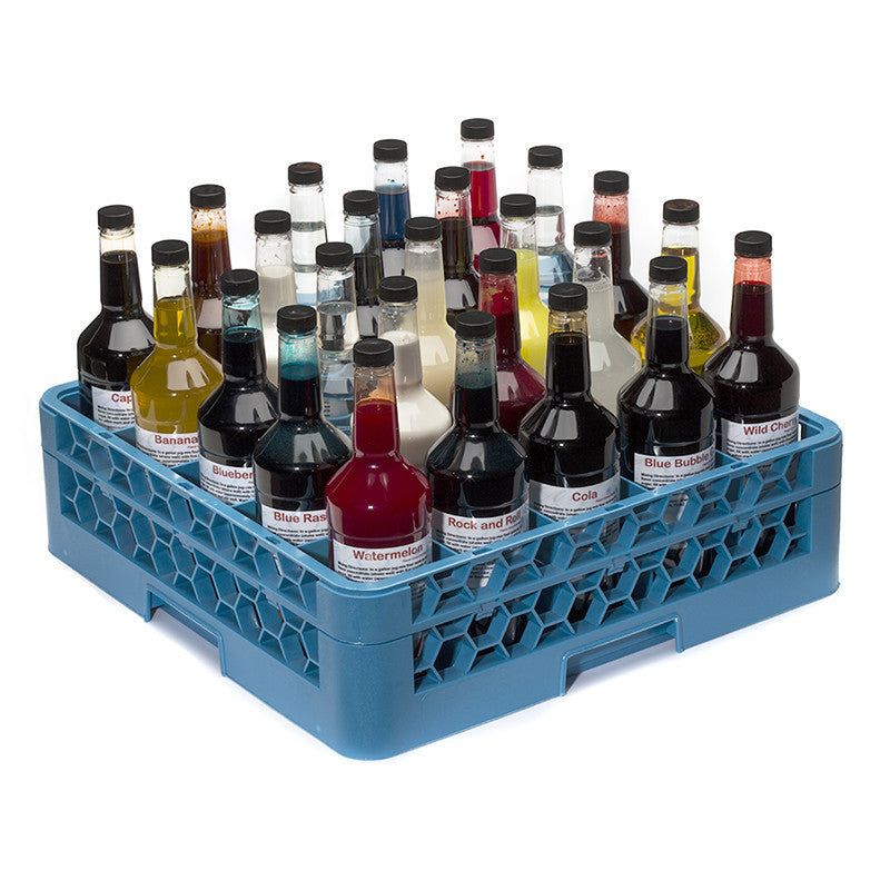 Shaved ice bottle transport rack 25 compartment
