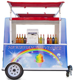 Shaved ice push cart turnkey towable behind car