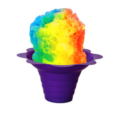Shaved ice flower cup small 4 ounce purple with shave ice