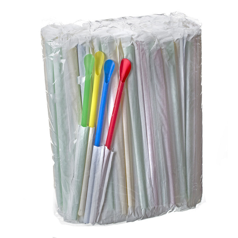 Spoon straws for shaved ice individually paper wrapped