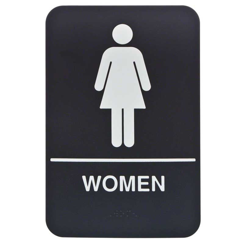 Restroom sign Woman with Braille