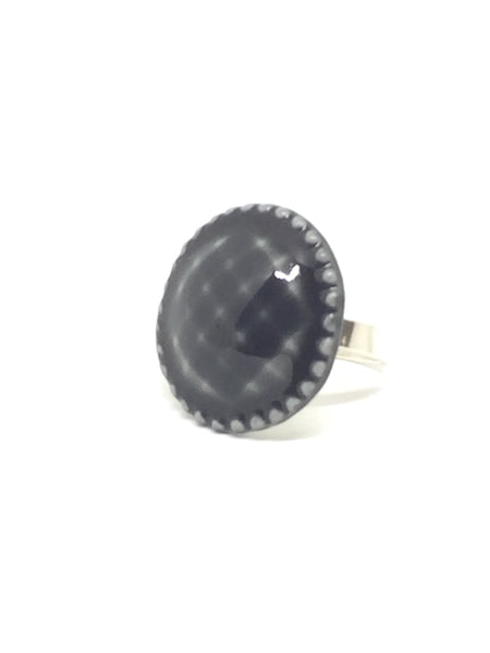 "Jewelry - Porcelain Gray ""Button"" Ring"