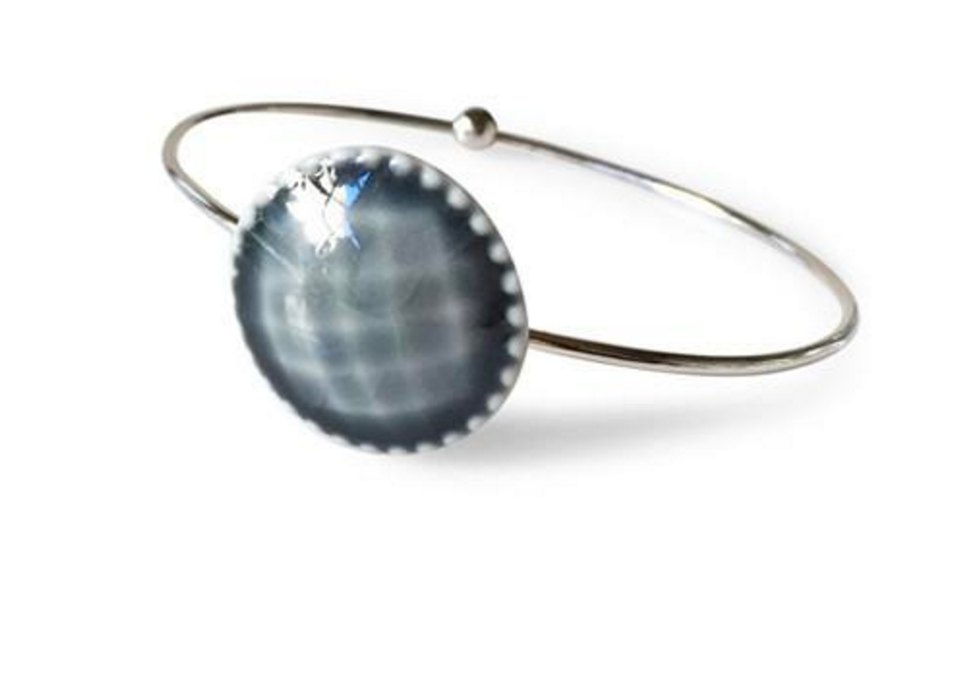 "Porcelain Jewelry - Gray ""Button"" Bracelet"