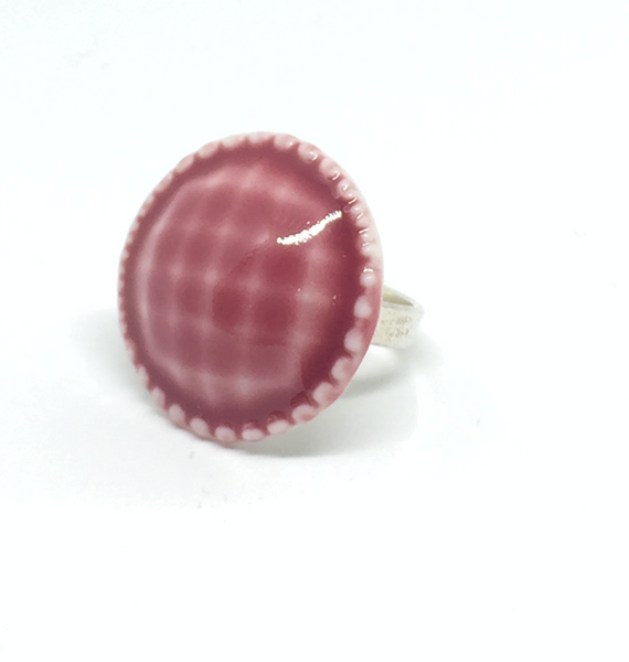 "Jewelry - Porcelain Rose ""Button"" Ring"