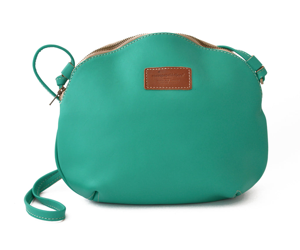 Leather Cross Body Bag - Teal
