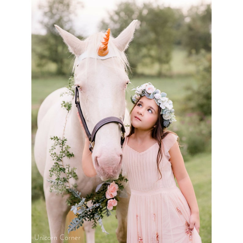 UniBand™ White Leather Unicorn Horn Browband for Horses and Ponies