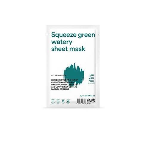 E NATURE Squeeze Green Watery Sheet Mask - Meikki