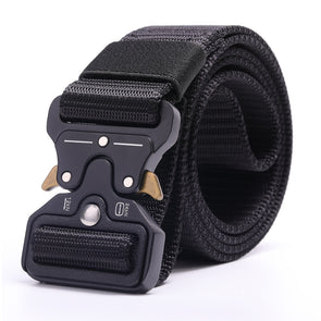 Tactical Military Belt Men Nylon Belt Metal Buckle for Outdoor Activity and Daily Wearing Quick Release Gear Clip