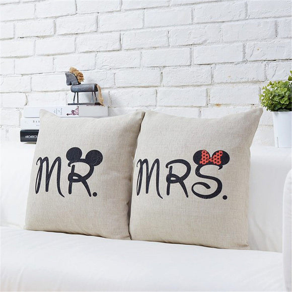 Cute Mrs - Mr Pillow Case Cover