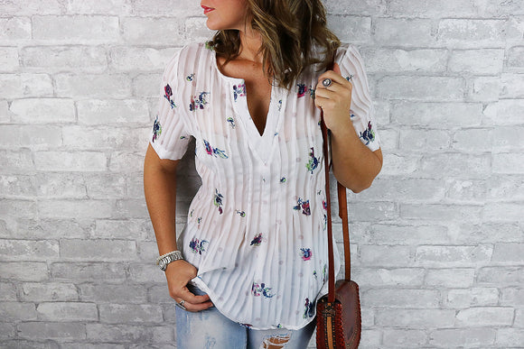 Anthea -- The  V Neck Floral Top