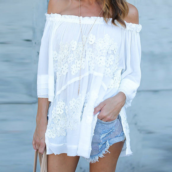 Leicy Off Shoulder Lace Chiffon Blouse
