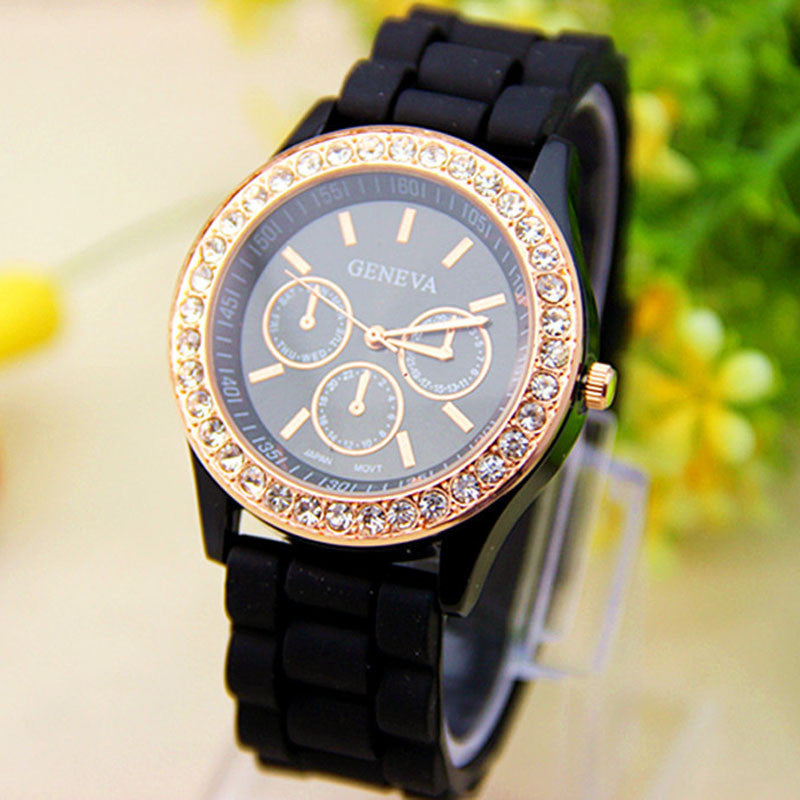 Black Jellyen Crystal Silicone Watch