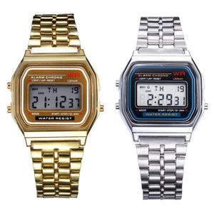 2PC & Stainless Steel Digital Alarm Stopwatch Wrist Watch Gift