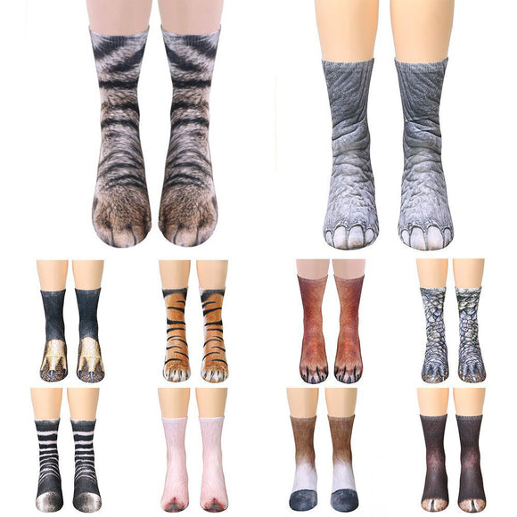 Unisex Animal Paw Crew Socks Sublimated Print