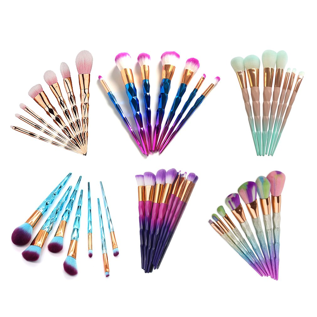 7pcs Diamond Shape Rainbow Handle Makeup Brushes