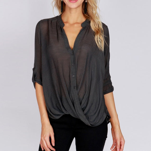 Valeri V Neck Long Sleeve Buttons