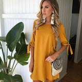 Greyce Solid Bowknot Sleeves Cocktail Mini Dress