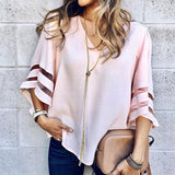 Kathy Half Sleeve Striped Loose Blouse