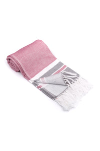 Raspberry Soft Turkish Towel for the Bath or Beach with Terry Cloth on One Side