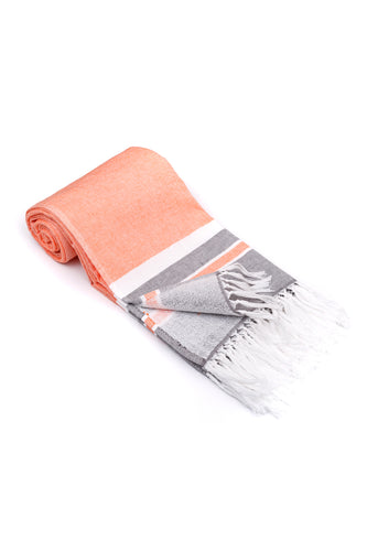 Orange Soft Turkish Towel for the Bath or Beach with Terry Cloth on One Side