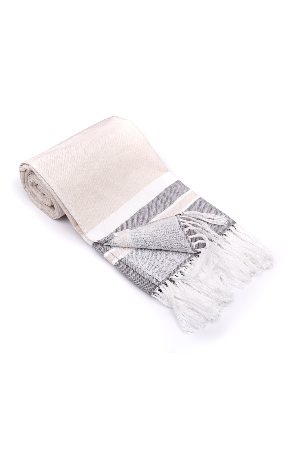 Beige Soft Turkish Towel for the Bath or Beach with Terry Cloth on One Side