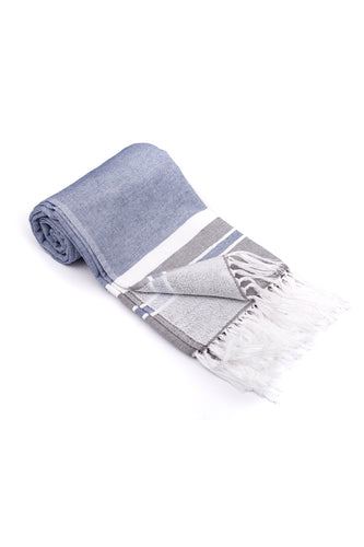 Navy Soft Turkish Towel for the Bath or Beach with Terry Cloth on One Side