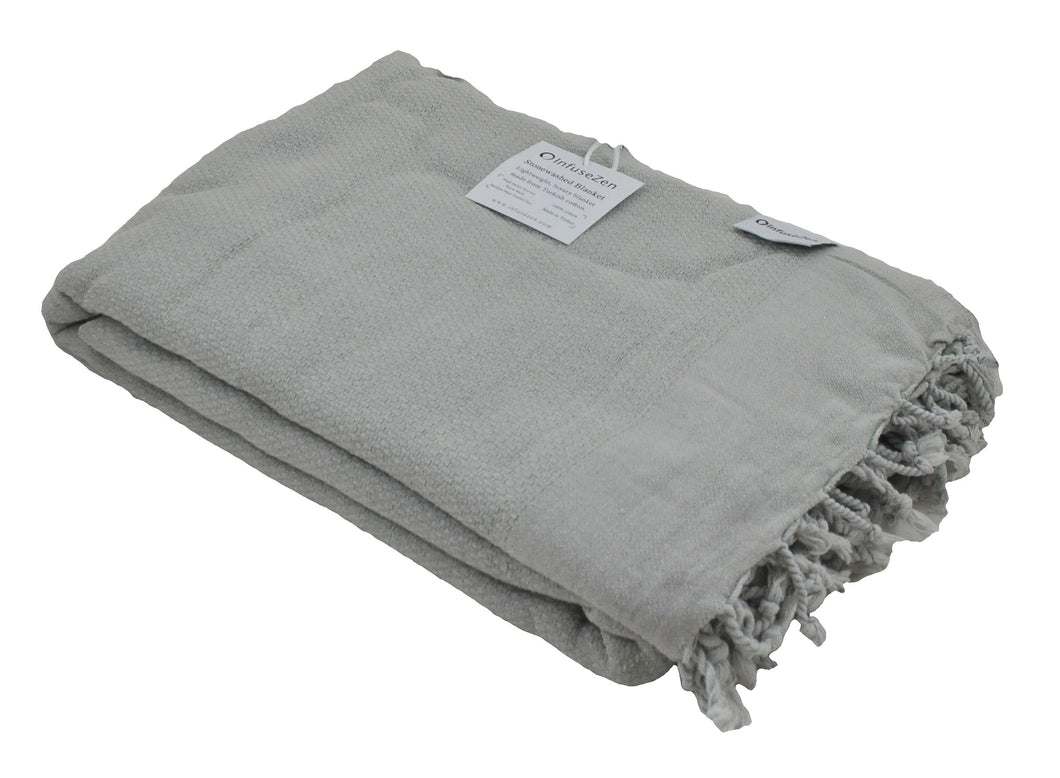 Beige Stonewashed Turkish Throw Blanket