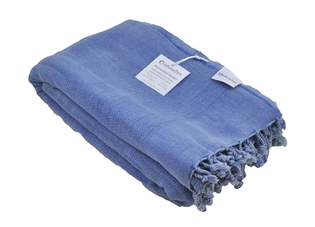 Blue Stonewashed Turkish Throw Blanket