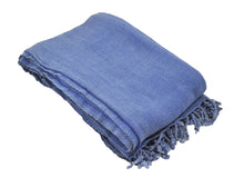 Load image into Gallery viewer, Blue Stonewashed Turkish Throw Blanket