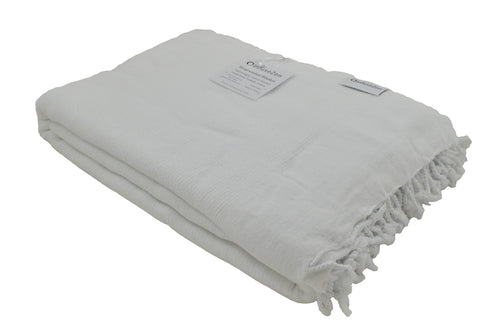 White Stonewashed Turkish Throw Blanket