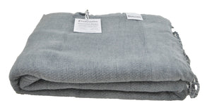Denim Blue/Grey Stonewashed Turkish Throw Blanket