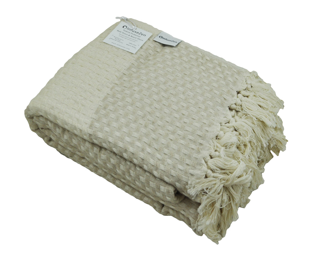 Beige and Cream Turkish Throw Blanket