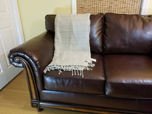 Large Beige Stonewashed Thin Turkish Throw Blanket