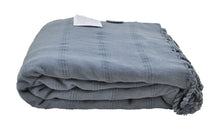 Load image into Gallery viewer, Large Denim Blue/Grey Stonewashed Thin Turkish Throw Blanket