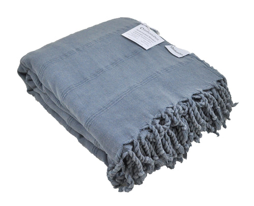 Large Denim Blue/Grey Stonewashed Thin Turkish Throw Blanket